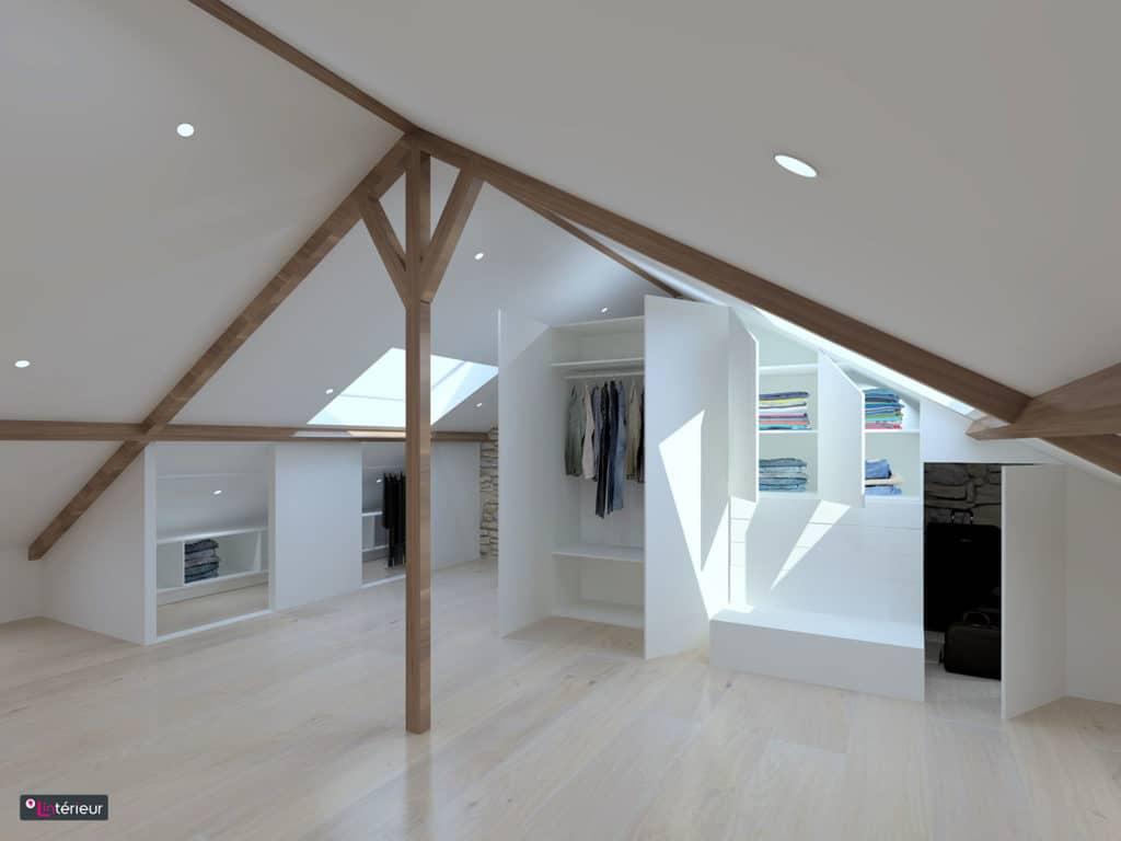 les rangements sous rampant. Black Bedroom Furniture Sets. Home Design Ideas