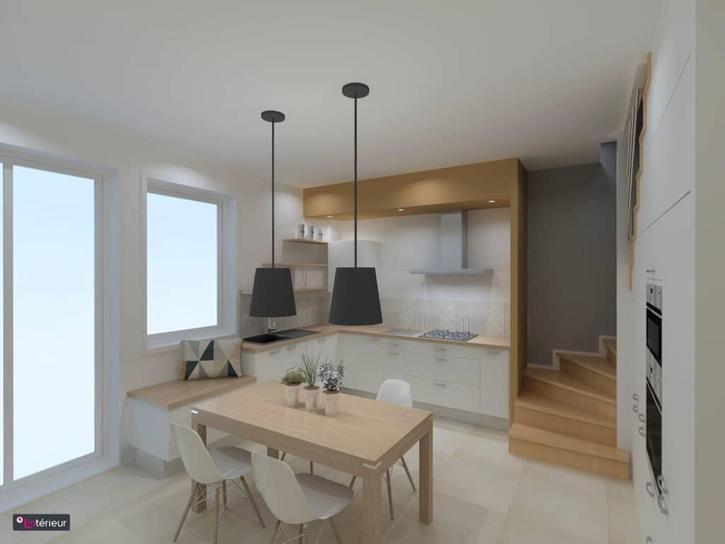 la cuisine en escalier r alis e par le magasin l int rieur nantes ur. Black Bedroom Furniture Sets. Home Design Ideas