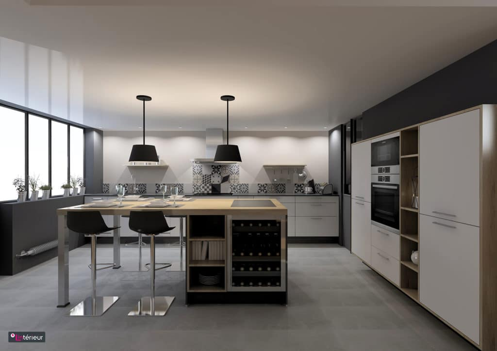 La cuisine esprit loft réalisée par le magasin L'intérieur Nantes